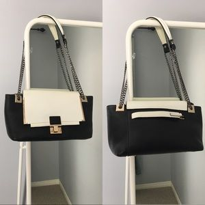 Handbags - Black-white formal/business-style handbag
